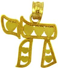 Yellow Gold Pendant Chai with Hearts