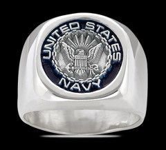 USA MILITARY NAVY Ring , Silber