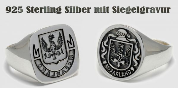 Siegelring Wappenring Traditionsring 925 Sterling Silver
