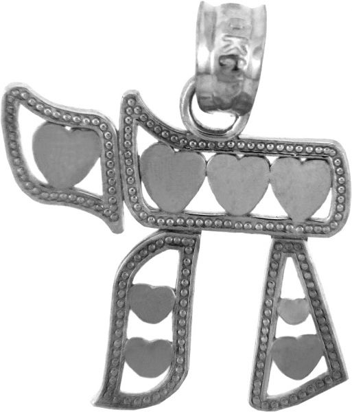 Sterling Silber Pendant Chai with Hearts