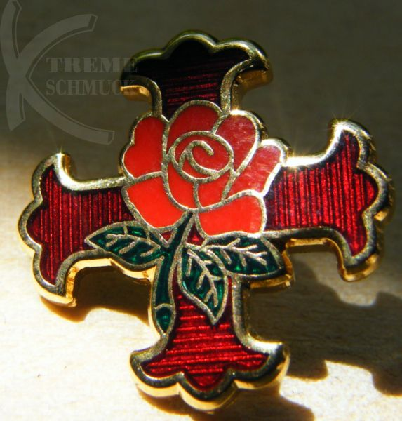 "Pin ""Rosenkreuz"", 18 ct vergoldet"
